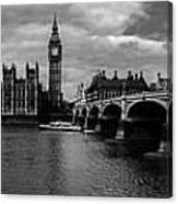Westminster Pano Bw Canvas Print