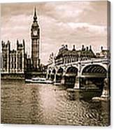 Westminster Pano Mono Canvas Print