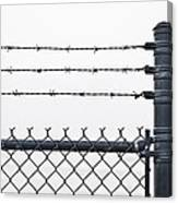 Wet Barbed Wire Fence In Heavy Fog E69 Canvas Print
