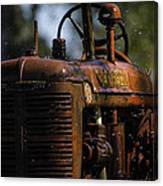 Wet Red Tractor Canvas Print