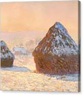 Wheat Stacks - Snow Effect Morning Canvas Print