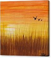Wheatfield At Sunset Canvas Print