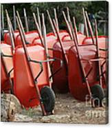 Wheelbarrows In Garden Canvas Print