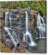 When Light And Water Falls-2a Three Cascades Over Blackwater Falls State Park Wv Autumn Mid-morning Canvas Print
