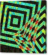 When Squares  Merge Green Canvas Print