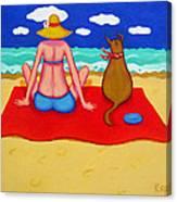 Whimsical Beach Seashore Woman And Dog Canvas Print