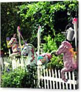 Whimsical Carousel Horse Fence Canvas Print