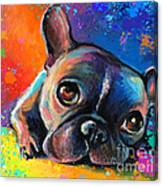 Whimsical Colorful French Bulldog  Canvas Print