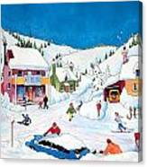 Whimsical Winter Village Canvas Print