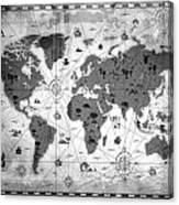 Whimsical World Map Bw Canvas Print