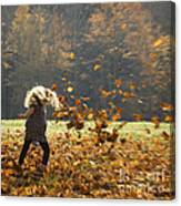 Whirling With Leaves Canvas Print