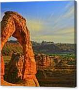 Whispy Clouds Over Delicate Arch Canvas Print