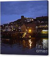 Whitby Lower Harbour And The Rnli Lifeboat Station At Night Canvas Print