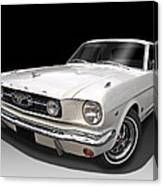 White 1966 Mustang Canvas Print