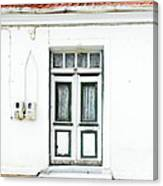 White And Green Door Canvas Print