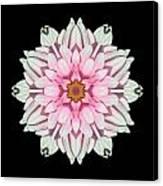 White And Pink Dahlia I Flower Mandala Canvas Print