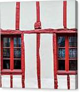 White And Red Half-timbered House Detail Canvas Print