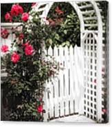 White Arbor With Red Roses Canvas Print