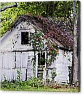 White Barn In Autumn Canvas Print