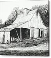 White Barn On Bluff Road Canvas Print