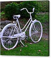 White Bicycle Canvas Print