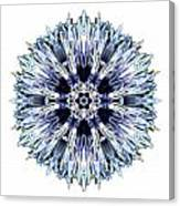 Blue Globe Thistle I Flower Mandala White Canvas Print
