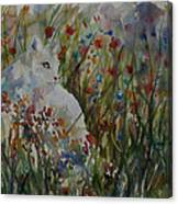 White Cat In Flowers Canvas Print