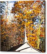 White Church In Autumn Canvas Print