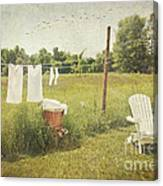 White Cotton Clothes Drying On A Wash Line  Canvas Print
