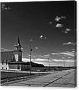 White Country Chuch And Road Canvas Print