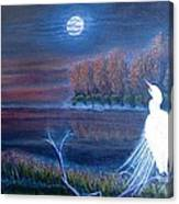White Crane Dancing In The Light Of The Moon Canvas Print