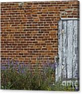 White Door In Brick Building Canvas Print