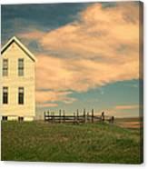 White Farmhouse And Corral Canvas Print