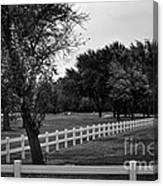 White Fence On The Wooded Green Canvas Print