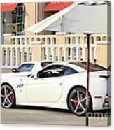 White Ferrari At The Store Canvas Print