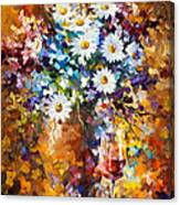 White Flowers - Palette Knife Oil Painting On Canvas By Leonid Afremov Canvas Print