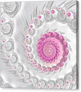 White Grey And Pink Fractal Spiral Art Canvas Print