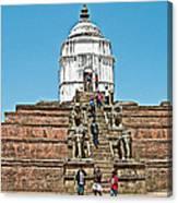White Hindu Temple In Bhaktapur Durbar Square In Bhaktapur-nepal  Canvas Print