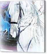 White Horse Abstract Canvas Print