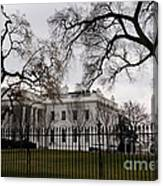 White House On A Cloudy Winter Day Canvas Print