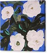White Magnolias On Deep Blue Canvas Print