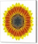 Orange And Yellow Sunflower I Flower Mandala White Canvas Print