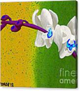 White Orchids On Yellow And Green Canvas Print