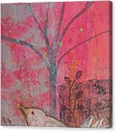White Peace Bird On Pink Canvas Print