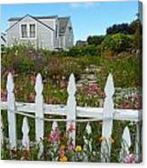 White Picket Fence In Mendocino Canvas Print