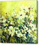 White Poppy Garden Canvas Print