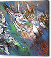 White Rabbits On The Run Canvas Print