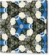 White Roses And Babys Breath Kaleidoscope Canvas Print
