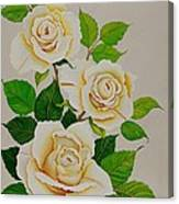 White Roses - Vertical Canvas Print