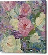 White Roses And Statice Canvas Print